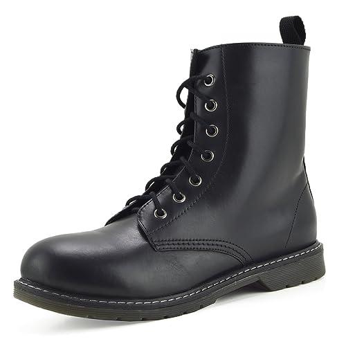 Botines de Combate Retro Tobillo de Mujer Funky Botines de gótico Vintage de Cuero - UK6 / EU40 Mens, De Cuero Negro: Amazon.es: Zapatos y complementos