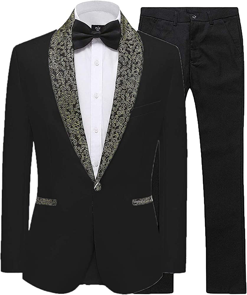 Mens 2 Piece Groom Suit White One Button Tuxedo Wedding Party Jacket Pants