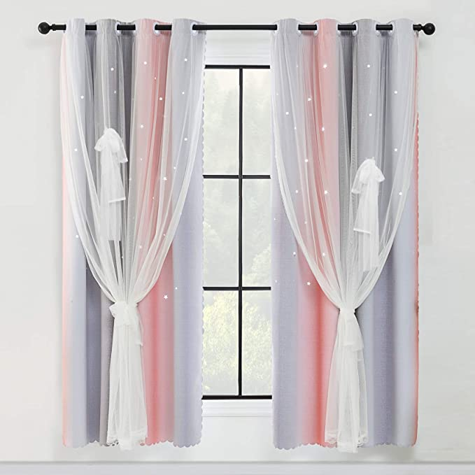 YBENWL 2 Panels Double Layer Rainbow Stripe Hollow Out Star Cut-Out Romantic Colorful Star Cut Out Stripe Window Gradient Sheer Blackout for Kids Girls Bedroom Living Room Hotel Curtains