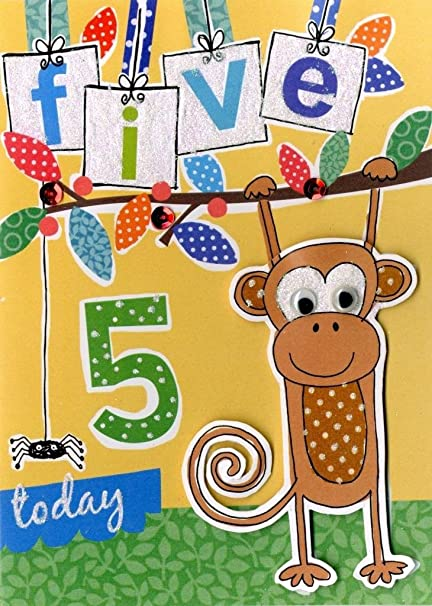 Amazon Boys 5th Birthday Card Five Today Second Nature