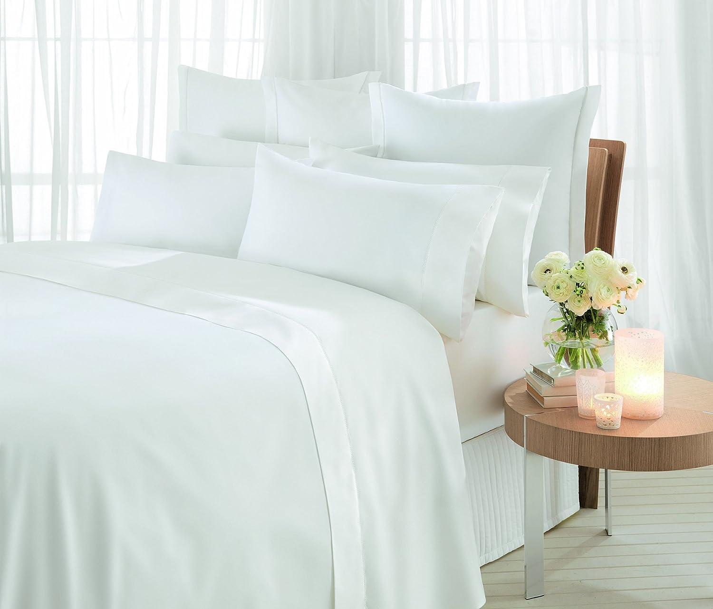 Sheridan Essentials Bettlaken für King Größe, Baumwollsatin, Fadenzahl 1000, 285 x 260 cm, schneeweiß