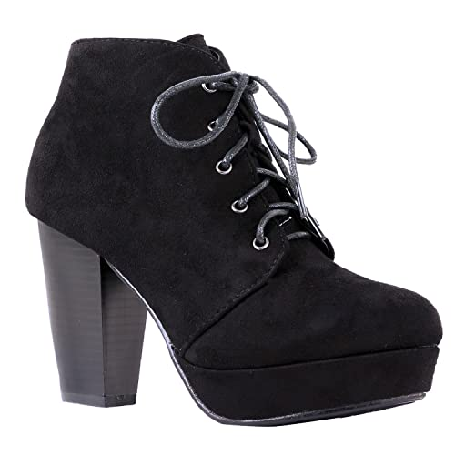 Shobeautiful Womens Ankle Boots Lace Up Block Chunky Heel Dress Booties Comfort Party Shoes Cm86 Black