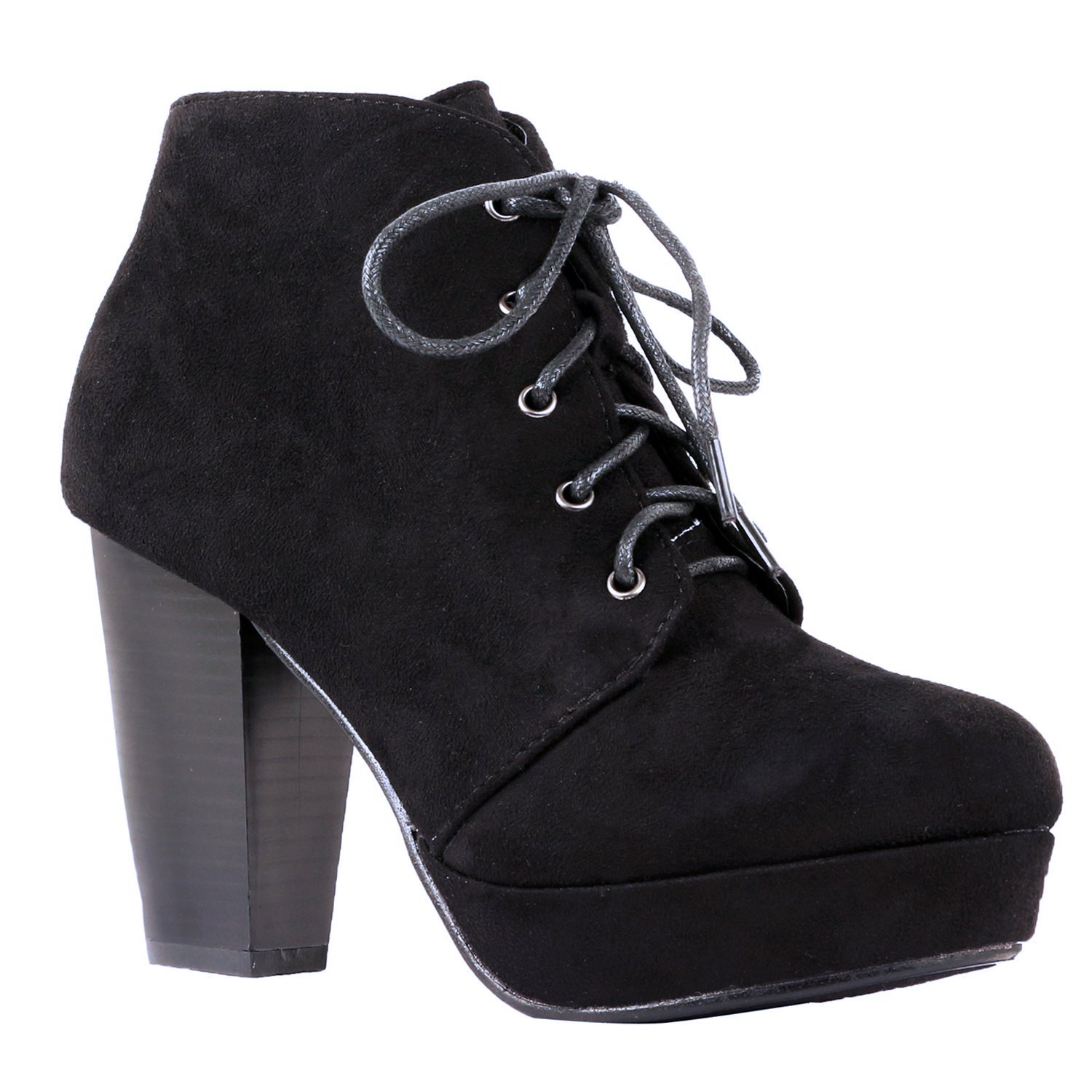 ShoBeautiful Women's Ankle Boots Lace up Block Chunky Heel Dress Booties Comfort Party Shoes CM86 Black 8