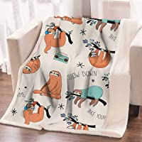 ARIGHTEX Sloth Bed Sofa Soft Throw Blanket Orange Sloths Hanging from Trees Cute Woodland Animal Sherpa Fleece Blanket (50 x 60 Inches)