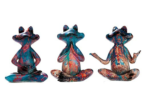DRW Set 3 Ranas posturas Yoga Resina Colores 5X8X13 cm ...