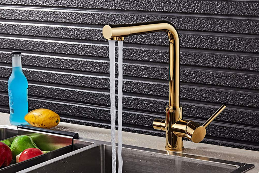 3 Way Gold Kitchen Sink Faucet Pure Drinking Water Filter Purifier Brass Tap Mixer Tap Bathroom Faucet (Gold)