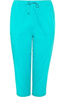 78f1c8a94fb82 Yours Clothing Women's Plus Size Cotton Cropped Trousers: Amazon.co ...