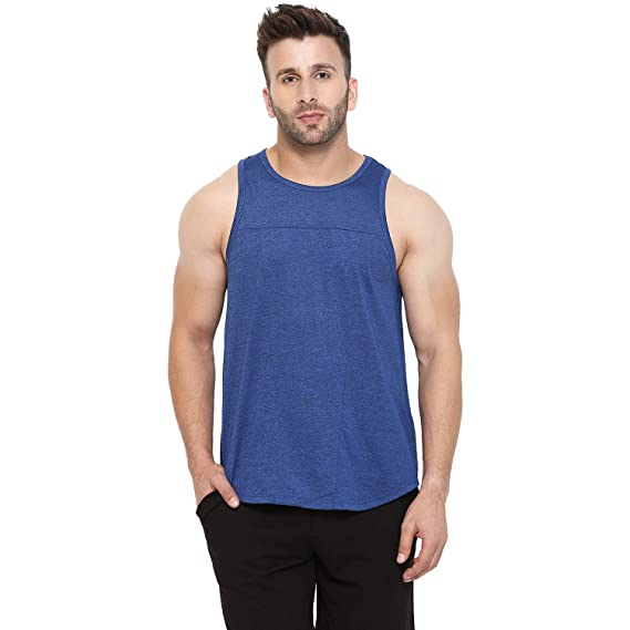 5fa2a62889b95 CHKOKKO Polyester Men Gym and Sportswear Tank top in Blue Colour Size S