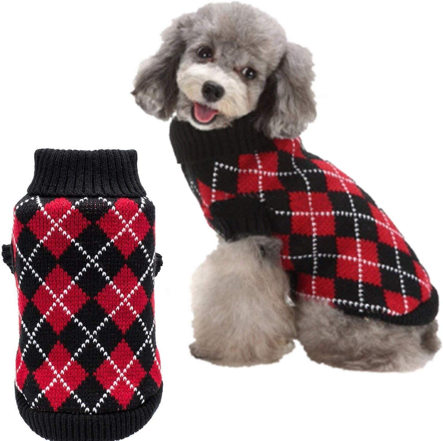 HOMIMP Hundepullover mit Argyle-Muster