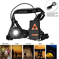 Sotical Chest Running Light, USB Rechargeable LED Running Night Light Waterproof Running Torch with 3 Lighting Modes for Runners, Joggers, Outdoor Sport, Walking, Fishing, Camping, Hiking, Climbing