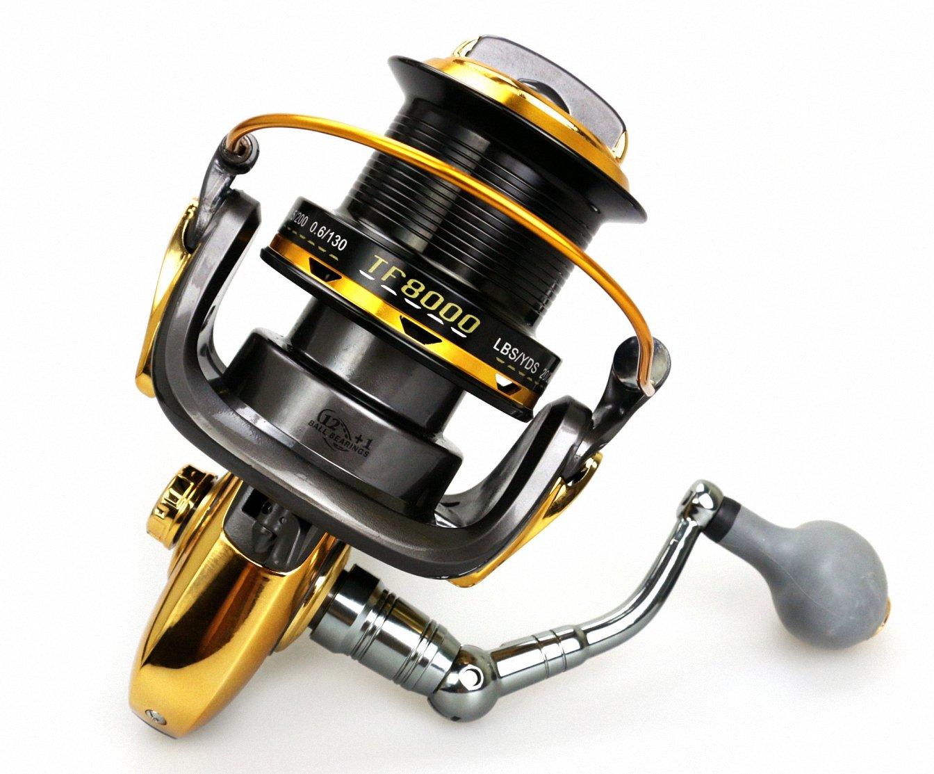 dueworkメタルスプールSpining釣りリール4.6 : 1ギア比12 + 1 BB、左/右交換可能for淡水、海水8000 9000シリーズ 9000  B01N21O2LF
