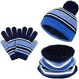 3-6 A/ños QKURT Ni/ños Sombrero Caliente Bufanda tubular y Gloves Sombreros Bufanda Mitones de Caliente Punto para Ni/ños y Ni/ñas con Forro de Felpa Corta 3 Piezas Set de Gorro Bufanda y Guantes