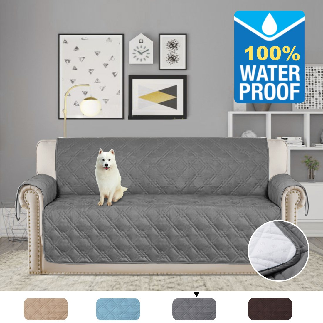 H.VERSAILTEX Home Fashion Quilted Furniture Protector Stay in Place with Plastic Drop Printing Microfiber Soft and Water-Repellent (Sofa: Grey) - 75'' X 112''