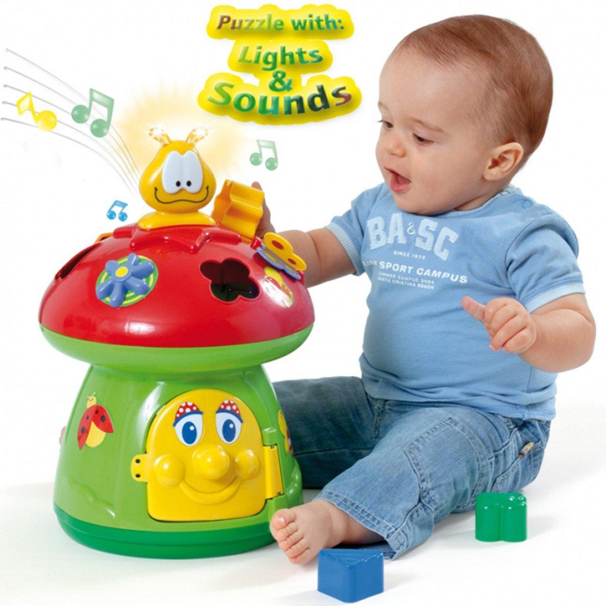 Unbekannt Baby Motorik Spielzeug Pilzhaus mit Licht, Sound und Steckformen Steckspiel - Formen Sortier Spiel Lernspiel mit Licht Sound Siehe Beschreibung