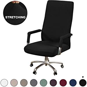 Turquoize Stretch Chair Cover Office Chair Slipcover Black Computer Chair Cover for Rotating Chair Swivel Chair Cover with Armrest Covers Jacquard Office Chair Slipcover with Armrest, Large, Black