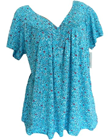 Womens Loose Plus Size Floral Print T-Shirt Tee S-5XL,Ruffle Short