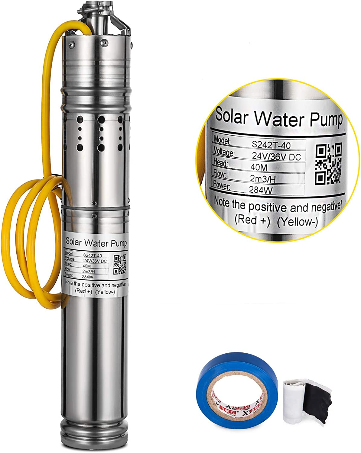 S242T-40 MosaicAL Solar Powered Water Pump 284W Deep Well Pump Submersible Pump 24V//36V DC Stainless Steel 2m3//h 40M Solar Water Pump for Fountains