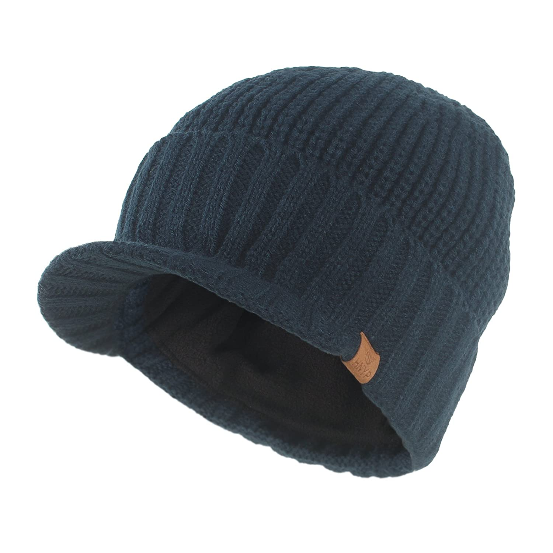Janey&Rubbins Daily Knit Visor Brim Beanie Hat Fleece Lined Skull Ski Cap Black
