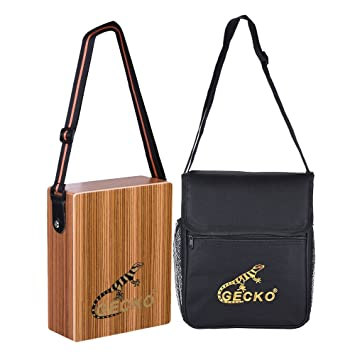 718399a1cd34 Ammoon Gecko C 68Z Portable Travel Cajon Box Drum Percussion Mallets with  Wood Hand Drum Carrying Strap Hand Bag