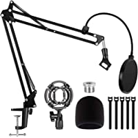 Puroma Heavy Duty Microphone Stand,Extendable Mic Suspension Boom Scissor Arm Stand with Dual Layered Mic Pop Filter and…