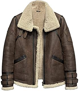 VearFit Aviator Sheepskin Real Brown Leather Bomber Jacket for Men