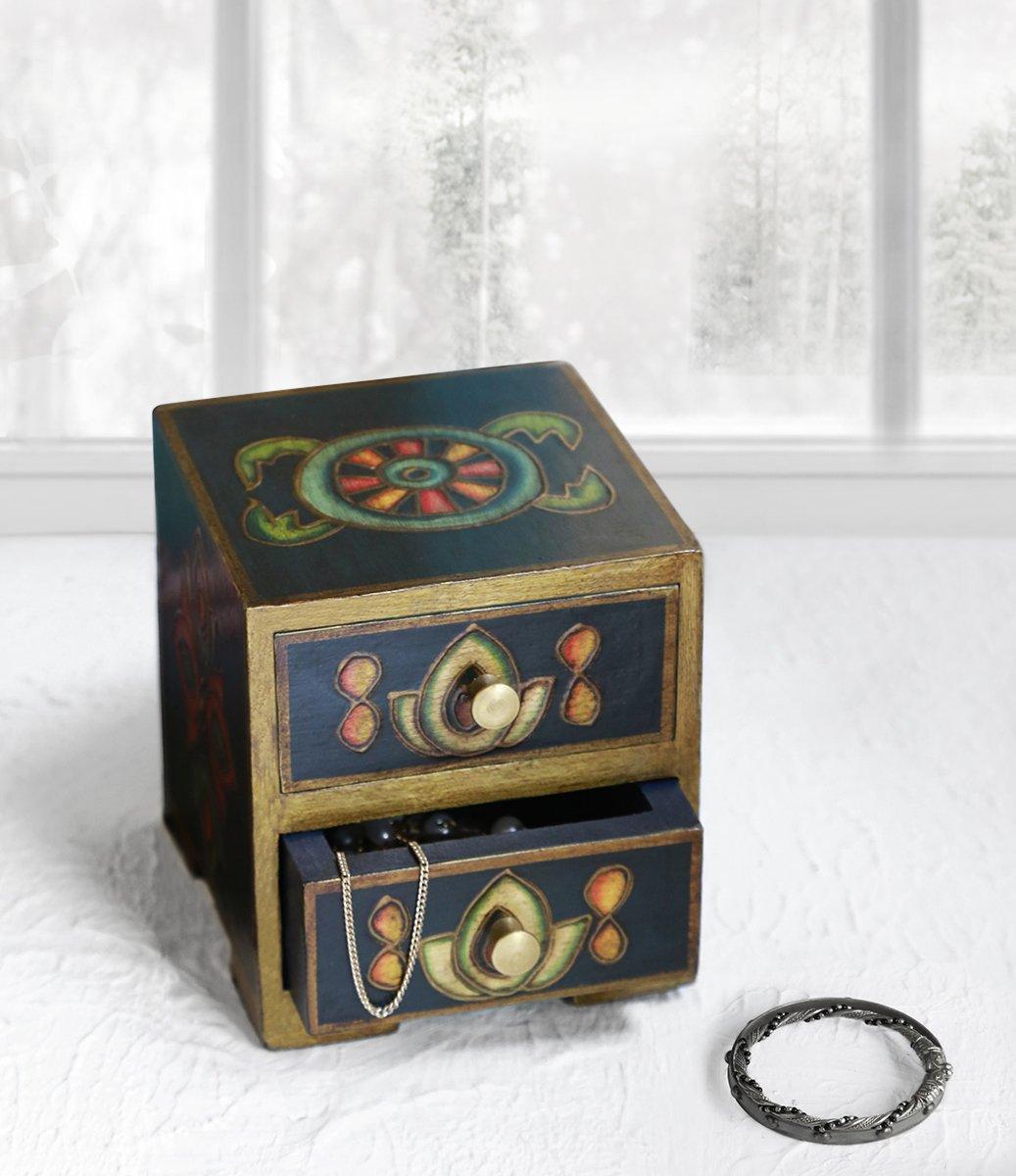 Store Indya Hand painted Keepsake Box Small Wooden Chest of 2 Drawers Storage Organizer Dresser Armoire Furniture with Ornate Designs, Buddhist monastery motifs, cone work