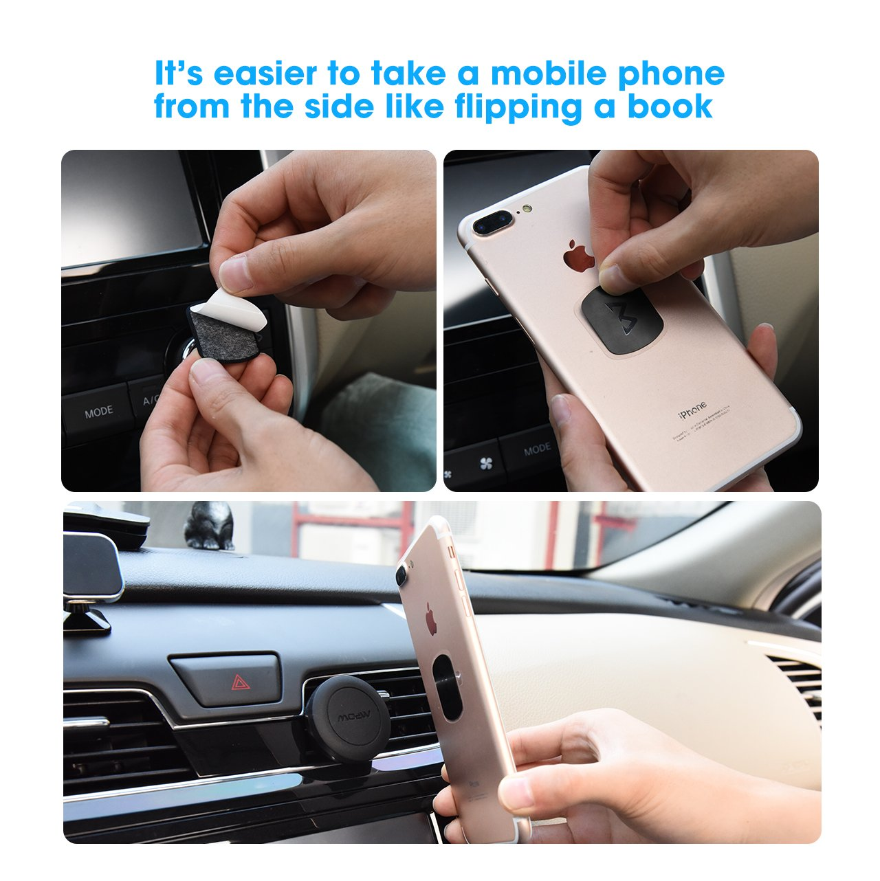 8 Pack Universal Replacement Holder Metal Plate Kit with 3M Adhesive for Magnetic Car Mount Cell Phone Holder 4 Large and 4 Small Mpow 063 Mount Metal Plate Black