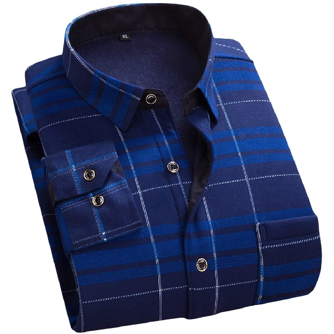 SportsX Mens Office Plaid Thicken Plus Velvet Comfort Dress Shirts