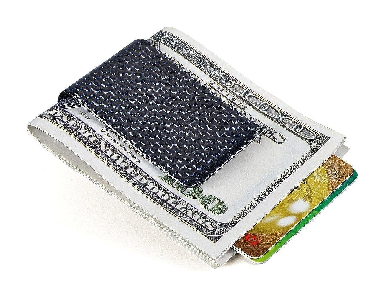 Ultra Gloss Black Carbon Fiber Money Clip Matte Credit Card holder Money Wallet
