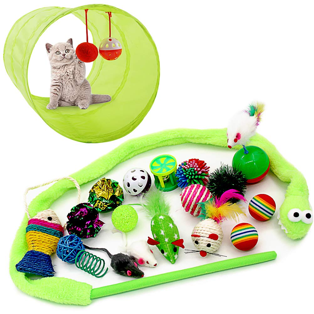 OFPUPPY Cat Toys Variety Pack Interactive - 2 Way Tunnel, Crinkle Balls, Cat Teaser Wand, Scratching Toys, Rainbow Balls, Fluffy Mouse Kittens, Kitties