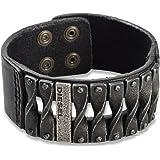 Diesel DXM0579 Herren Armband Leder Metall Schwarz 22 cm