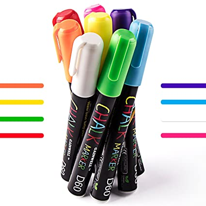 Rotuladores de Tiza Líquida GAINWELL-8 Llamativos Colores-Punta 6mm- para Superficies no Porosas-Pizarra, Vidrio, Cerámica-Sin Manchas o Polvo de Tiza