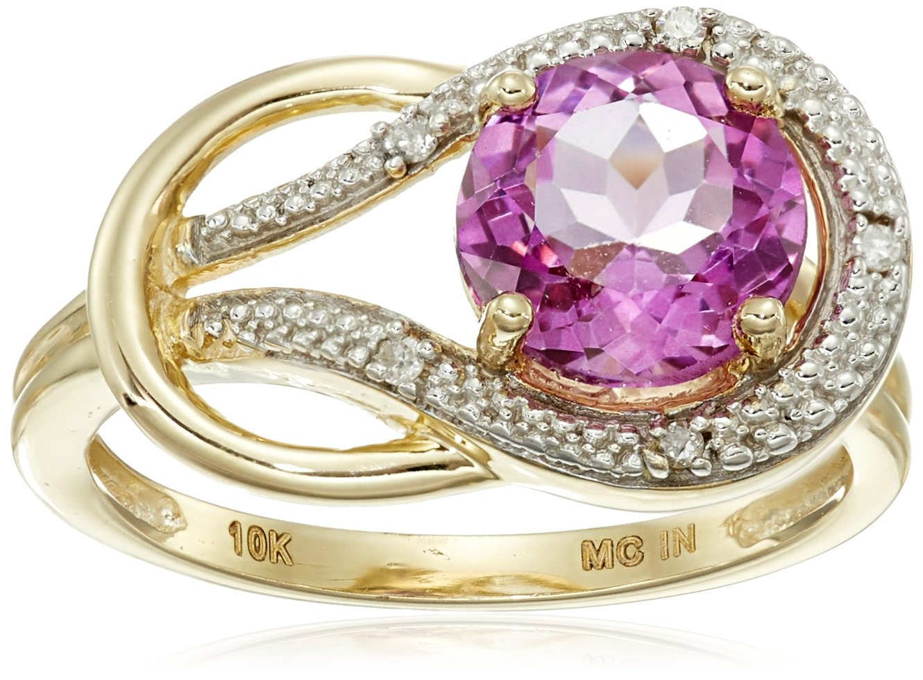 Pink Topaz and Diamond Accent Love Knot Ring in 10k Yellow Gold, Size 7