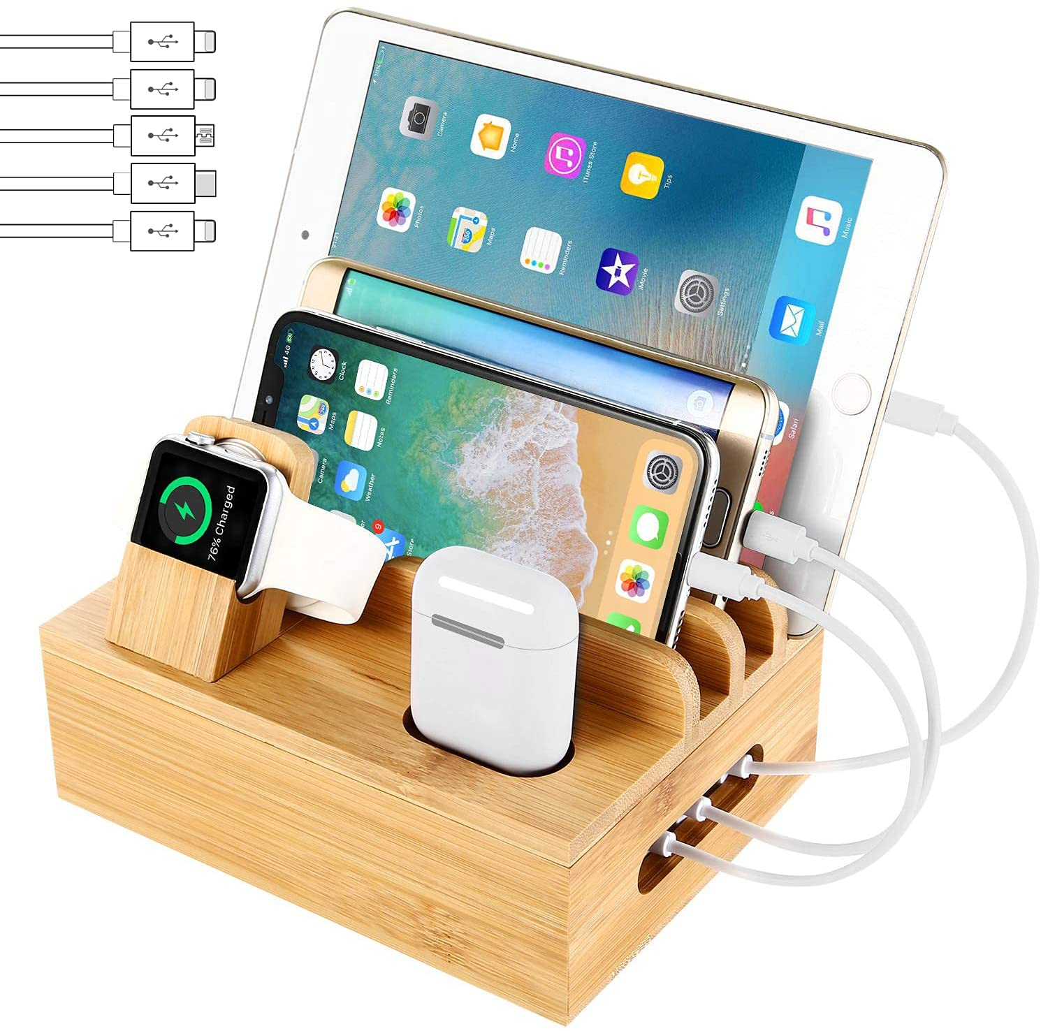 Bamboo Charging Station Dock for 4/5 / 6 Ports USB Charger with 5 Charging Cables Included, Desktop Docking Station Organizer for Cellphone,Smart Watch,Tablet(No Power Supply)
