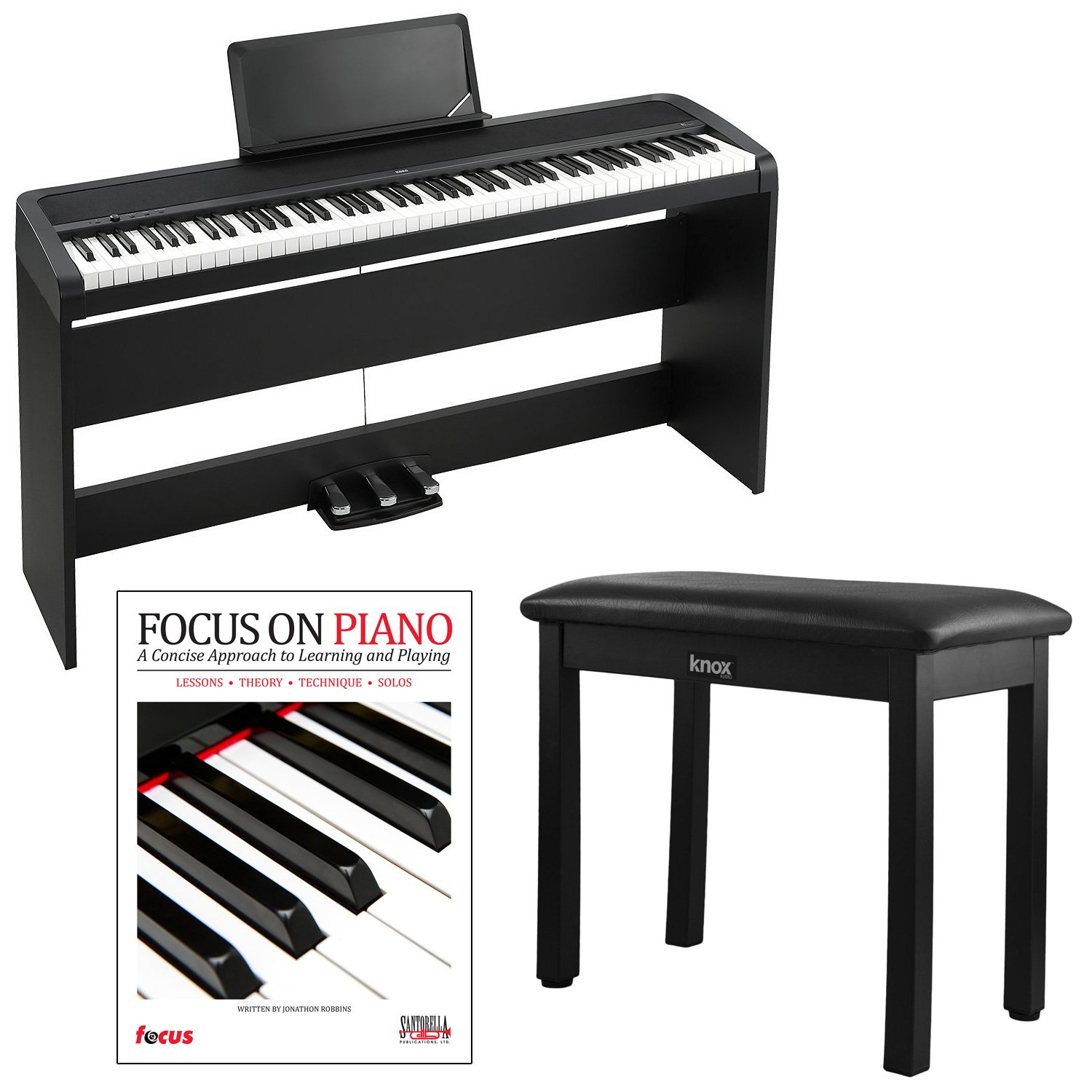 Korg B1SP 88 Weighted Key Digital Piano with Stand Three Pedal Board and Knox Bench by aSavings