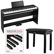 Korg B1SP 88 Weighted Key Digital Piano with Stand Three Pedal Board and Knox Bench