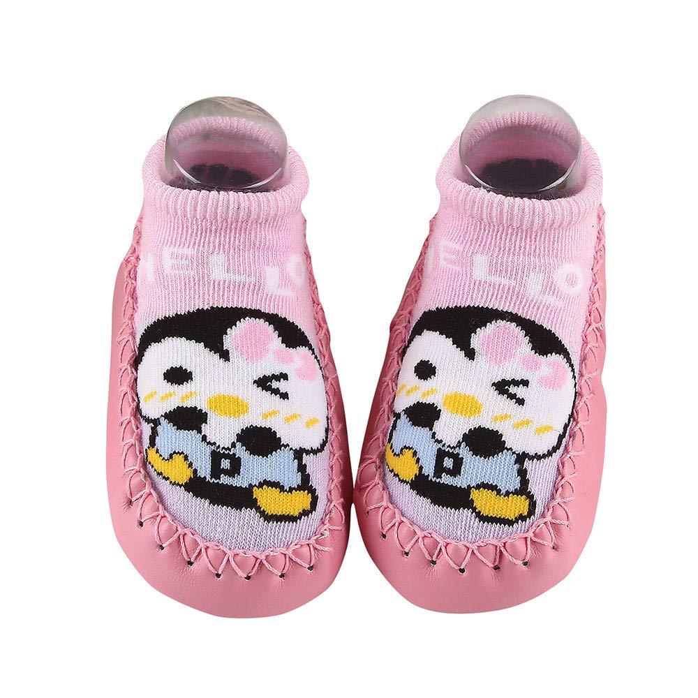 Inkach Toddler Anti-Slip Slipper Floor Socks Unisex Baby Cute Cartoon Non-Slip Booties Shoes (12cm=4.7'', Pink)
