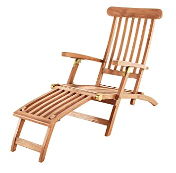 Amazon.de: SAM Teak Holz Deckchair, Sonnenliege- Stuhl, verstellbar ...