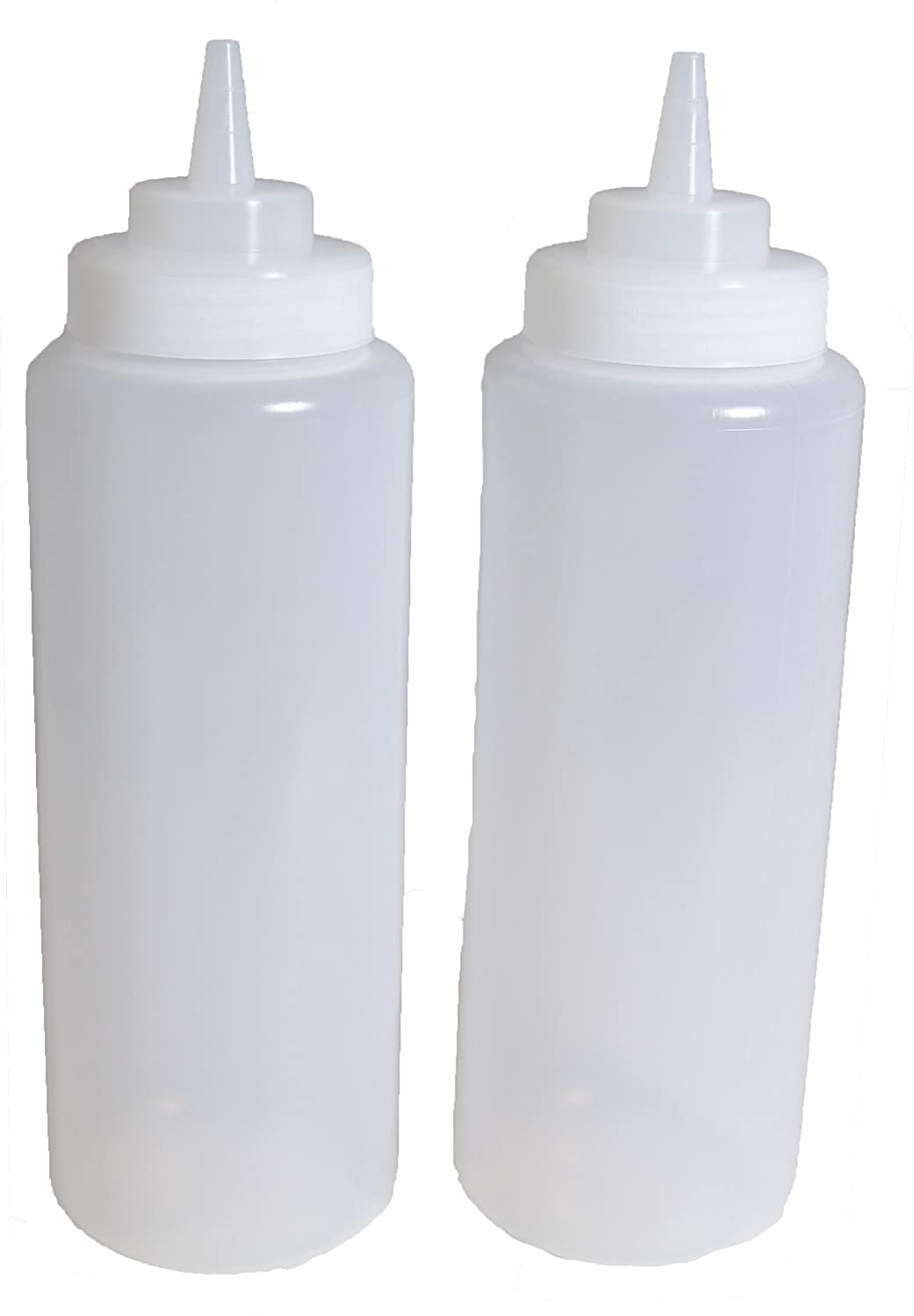d2d27066a8f9 SET of 2, 32 Oz. (Ounce) Large Clear Squeeze Bottle, Condiment Squeeze  Bottle, Open-tip, Wide Screw-on Spout, Polyethylene Durable Plastic, Diner  ...