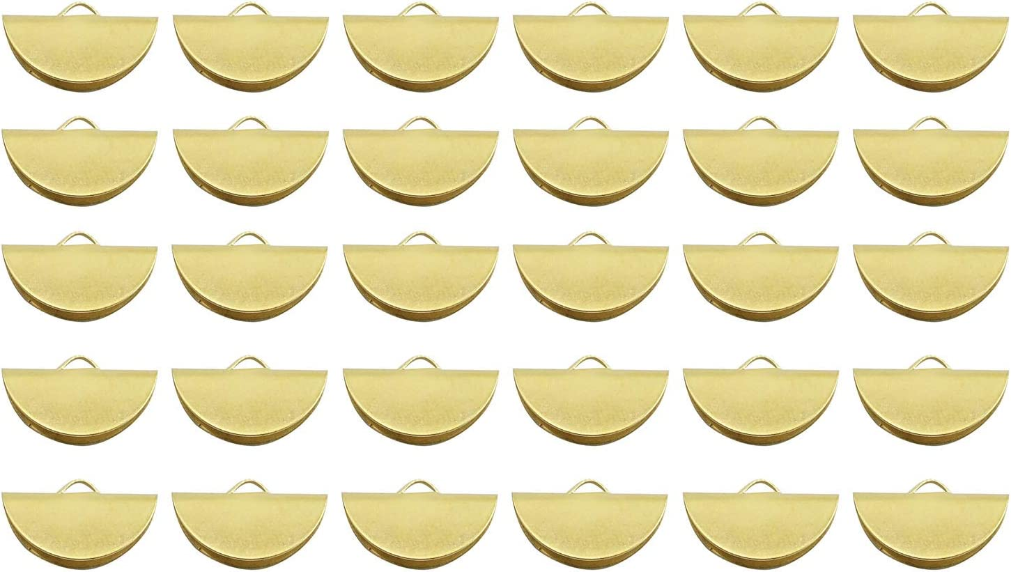 50 Pcs Gold Plated Brass Half Moon Slice Connector Pendant Findings With Holes Semicircle Circle Charms DIY Making Jewelry Supply Tool PJ360