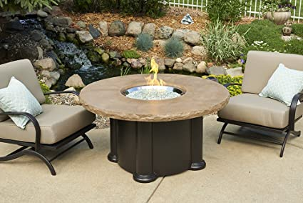 60,000 BTU Outdoor Greatroom Colonial Chat Height Fire Pit Table with Mocha Top