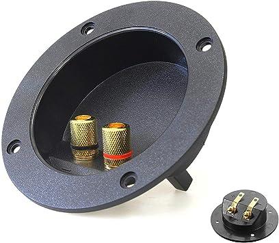 2 conectores de 2 vías para caja de altavoces, enchufe de rosca estéreo de coche para bricolaje o hogar, conectores de copa de resorte redondo para subwoofer: Amazon.es: Electrónica