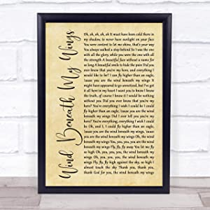 Wind Beneath My Wings Rustic Script Song Lyric Quote Music Poster Gift Present Art Print
