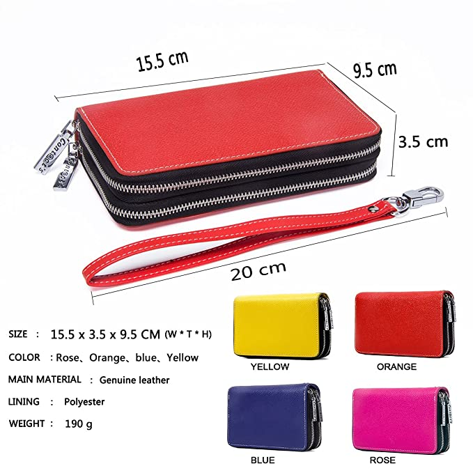 Contacts Women S Genuine Leather Clutch Multifunction Wallets Small Bag Wristlet