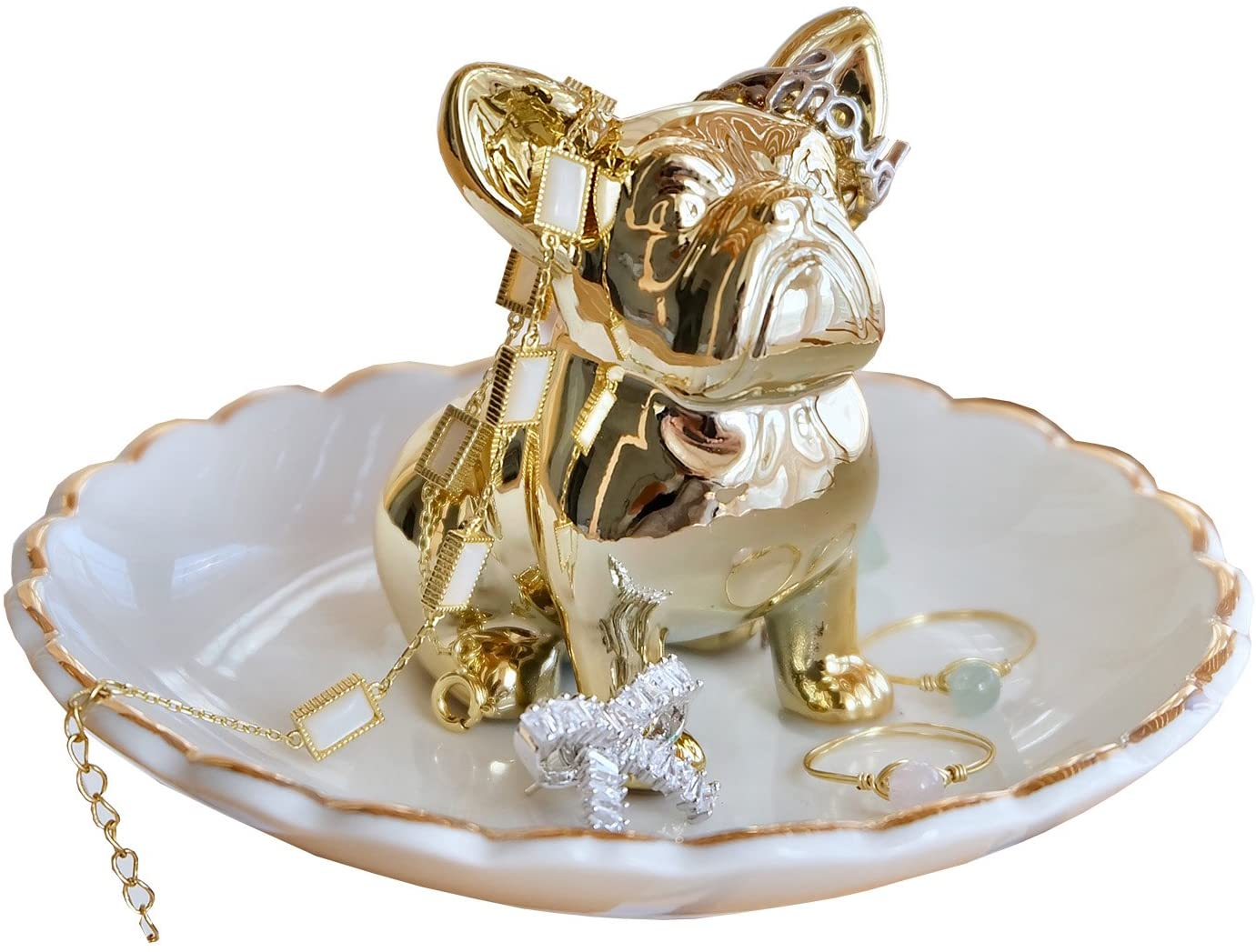 PUDDING CABIN Bulldog Ring Holder Dish Trinket Holder Gold Jewelry Tray for Birthday Wedding Engagement Xmas Gift