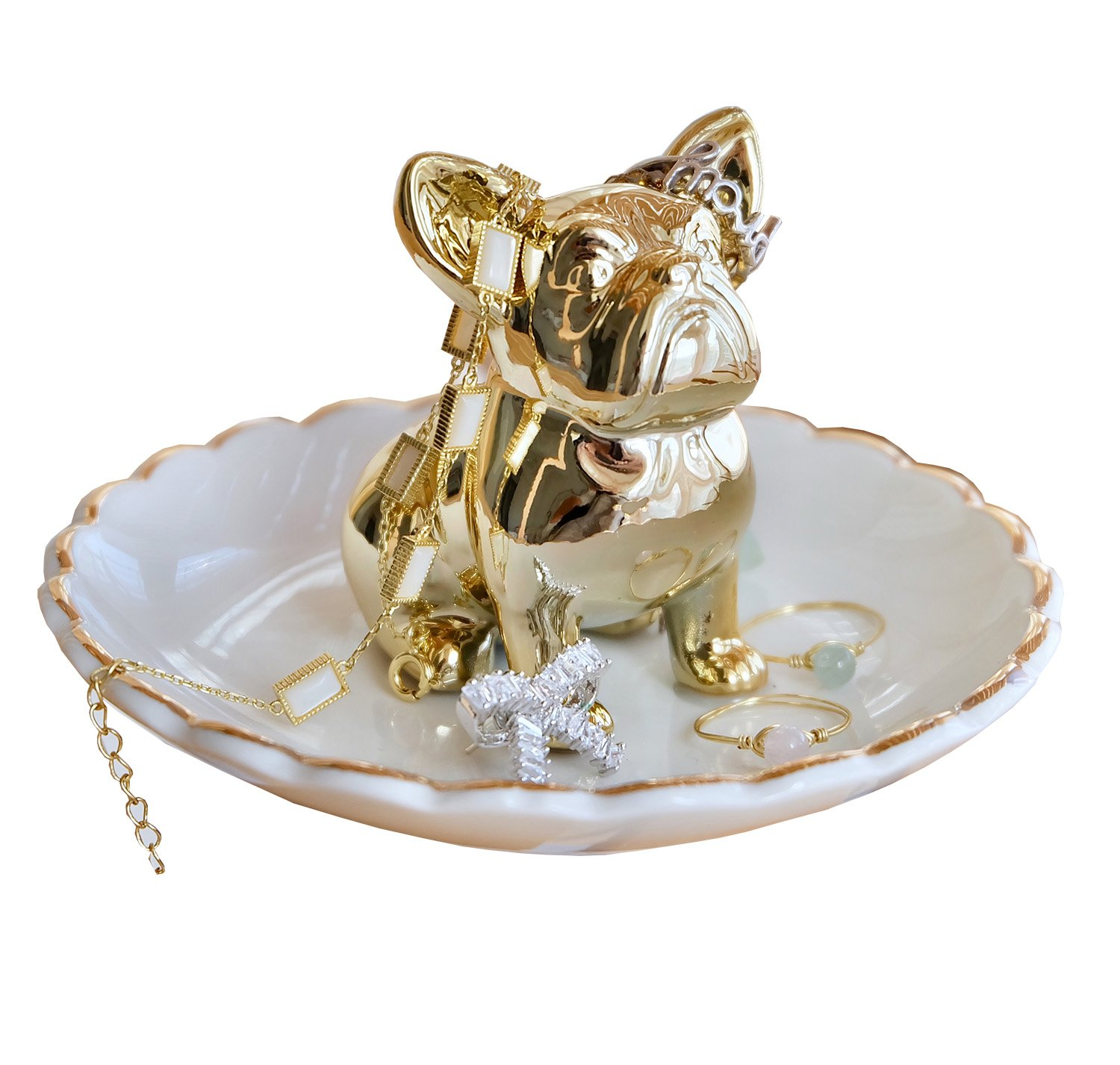 Bulldog Gold Jewelry Tray Ring Holder Trinket Dish For Engagement Wedding Rings Necklace Bracelet Organizer