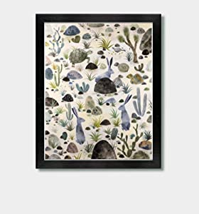 Desert Dwellers - by Artist Jason Smith - Sonoran Desert, Rabbit Print, Desert Tortoise, Quail, Yucca, Arizona, Tucson, New Mexico, Texas, Southwestern, Southwest Art, Desert Decor, Home Decor, Cacti