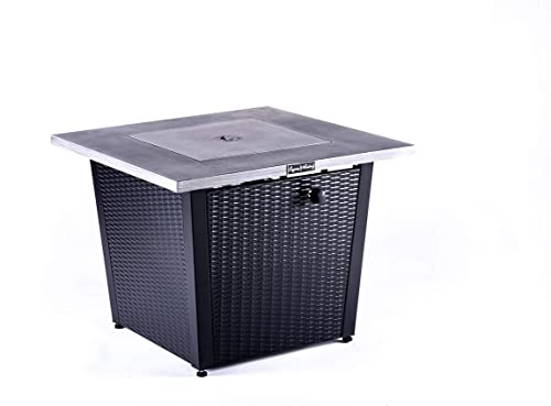 LEGACY HEATING 32inch Square Fire Pit with Grey Brushed Table Top and Steel Wicker Base Grey