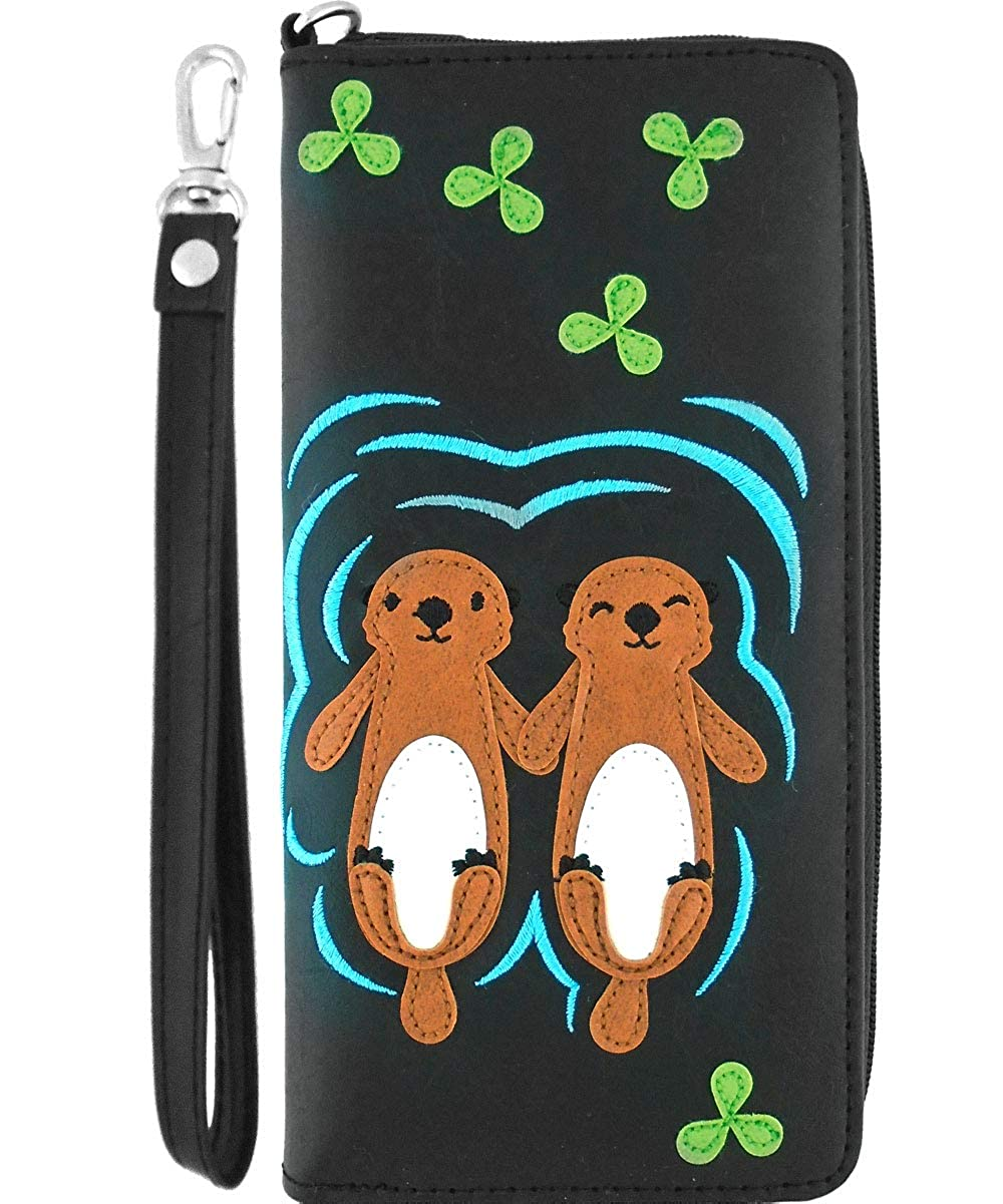 LAVISHY Sea Otters In Love Applique Vegan//Faux Leather Large Wristlet Wallet