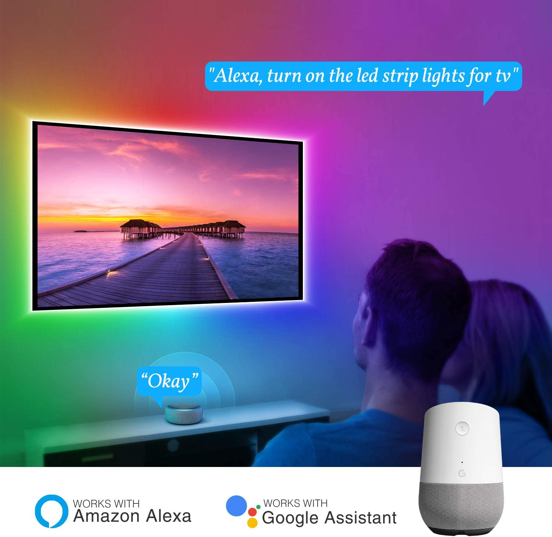 60 pulgadas HDTV espejo PC Gosund 2,8 m USB LED tira Sync con m/úsica IP65 resistente al agua RGB 5050 LED banda autoadhesiva LED TV retroiluminaci/ón para 40 pantalla de TV Tira LED Alexa